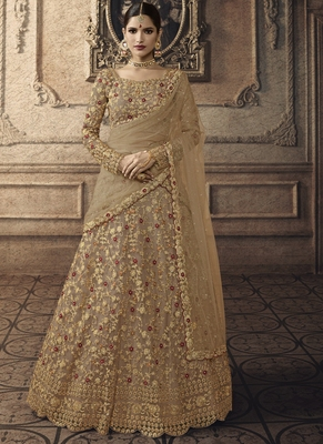 Beige Bridal Net Lehenga Choli