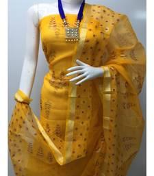 orange Kota Doria Printed Dress Materail (Without Bottom)