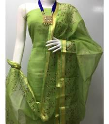 green Kota Doria Printed Dress Materail (Without Bottom)