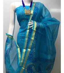 blue Kota Doria Printed Dress Materail (Without Bottom)