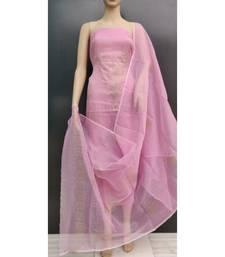 pink Kota Doria Gliter Paste Dress Materail