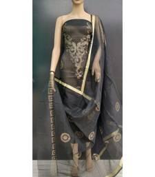 black Kota Doria Gliter Paste Dress Materail