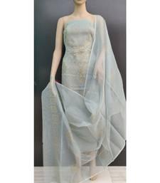 blue Kota Doria Gliter Paste Dress Materail