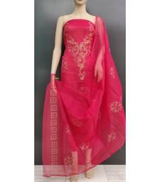 Red Kota Doria Glitter Paste Dress Material