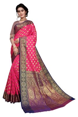 WOMENS DESIGNER PINK  BANARASI  SAREE WITH DESIGNER BLOUSE