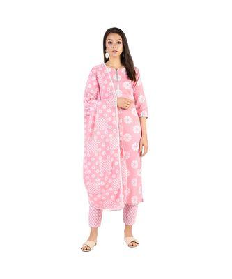 Pink checks kurta set