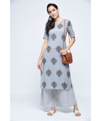 Grey Block Boota Kurta Plazzo Set