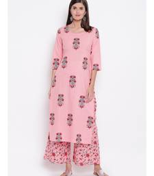 Pink block kurta set