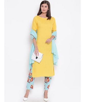 yellow cotton kurta set