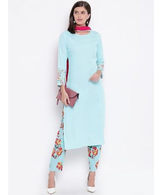 sky cotton kurta set