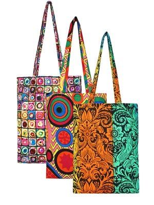 Eco-Friendly Multicolour Printed Canvas Shopping Bag Pack of Three