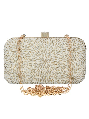 Pearl Embellished Faux Silk Clutch Off-White & Gold