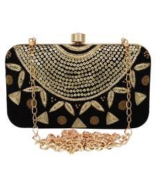 Adorn Embellished Velvet Clutch Black & Gold