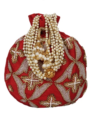Dazzle Embellished Faux Silk Potli Red & Copper