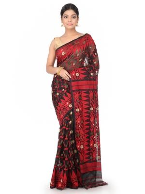Black Handwoven Cotton Jamdani Without Blouse