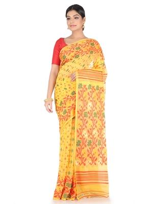 Yellow Handwoven Cotton Jamdani Without Blouse