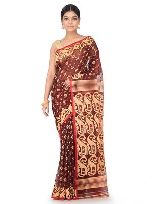 Multicolor Handwoven Cotton Jamdani Without Blouse