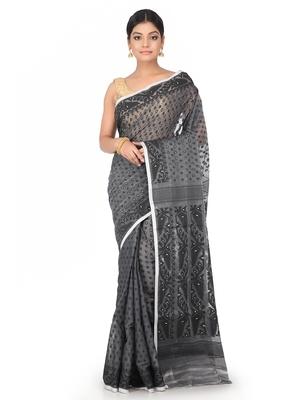 Grey Handwoven Cotton Jamdani Without Blouse