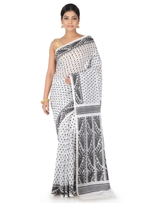 White Handwoven Cotton Jamdani Without Blouse