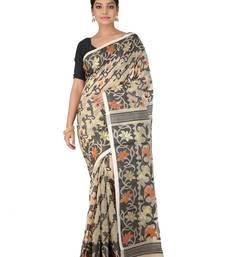 Beige Handwoven Cotton Jamdani Without Blouse