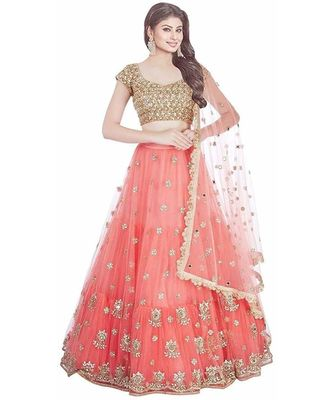 Pink Embroidered Semi Stitched Lehenga, Choli and Dupatta Set