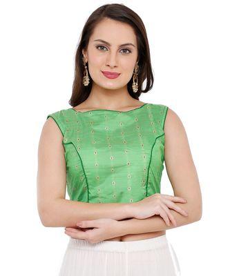 Women's Green Cotton Silk Readymade Free Size Saree Blouse