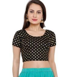 Women's Black Cotton Lycra Readymade Free Size Stretchable Saree Blouse