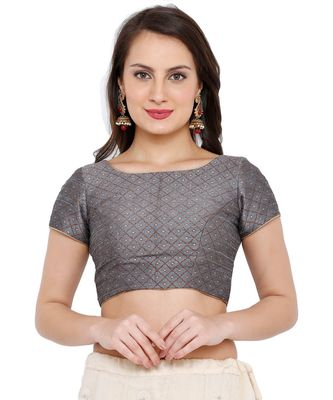 Women's Grey Brocade Readymade Saree Blouse