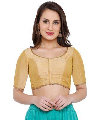 Women's Gold Dupion Silk Readymade Saree Blouse