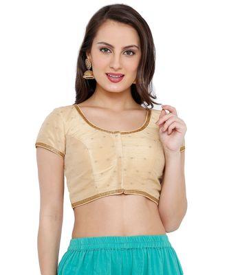 Women's Gold Brocade Readymade Saree Blouse