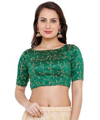 Women's Green Cotton Silk Embroidered Readymade Saree Blouse