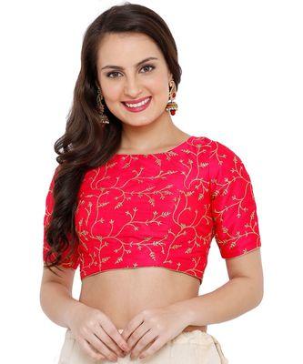 Women's Rani Cotton Silk Embroidered Readymade Saree Blouse
