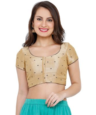 Women's Gold & Navy Blue Mulbery Silk Readymade Saree Blouse