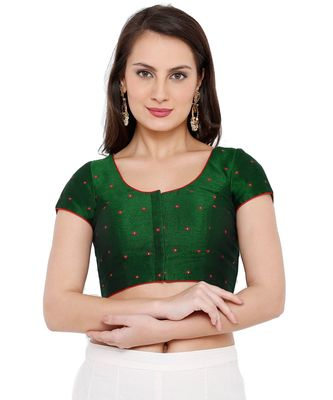 Women's Green Mulbery Silk Readymade Saree Blouse