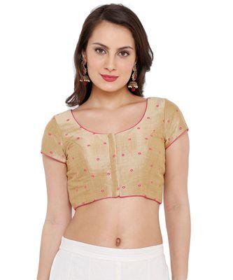 Women's Gold & Pink Mulbery Silk Readymade Saree Blouse