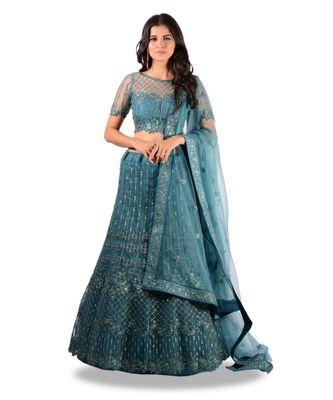 Rama Blue Embroidery Net Semi Stitched Lehenga With Blouse