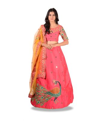 PINK EMBROIDERY SILK SEMI STITCHED LEHENGA WITH BLOUSE