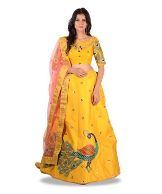 Yellow Embroidery Silk Semi Stitched Lehenga With Blouse