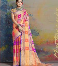 Multicolor printed uppada silk saree with blouse