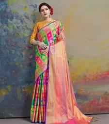 Multicolor printed uppada silk saree with blouse