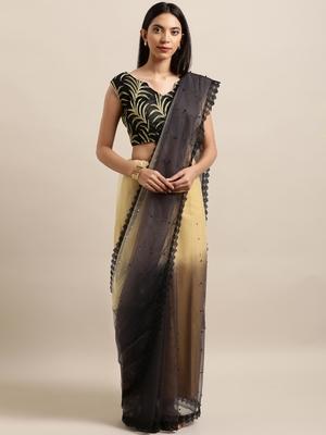 Black Printed Net Saree With Blouse