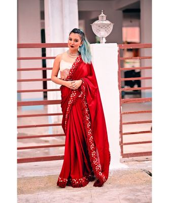 Inddus Maroon Silk Blend Lace Bordered Fringe Saree With Blouse