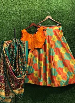Multicolor plain  silk semi stitched lehenga