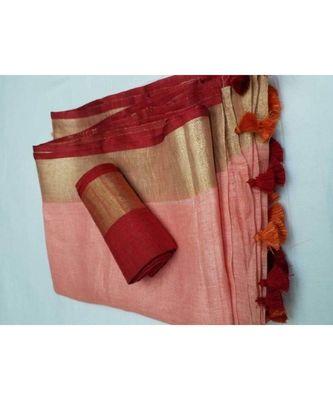 Peach Woven Linen Saree With Blouse