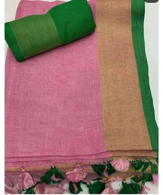 Light Pink Woven Linen Saree With Blouse