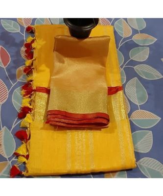 yellow woven linen saree with blouse