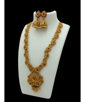 Gold Plated Stone Studded Designer Temple Necklace Sets For Womens