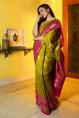 Olive woven manipuri silk saree with blouse