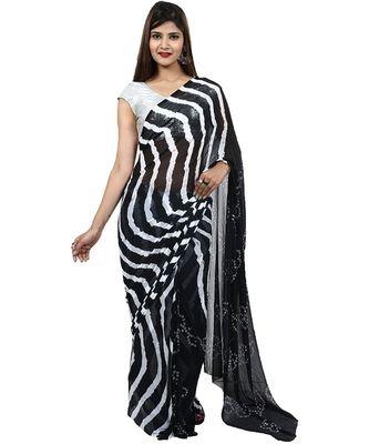 Womens  black Chiffon Printed Saree Half Bandhej & Half Lehariya with Blouse