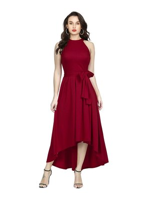 Maroon Plain Rayon Dress